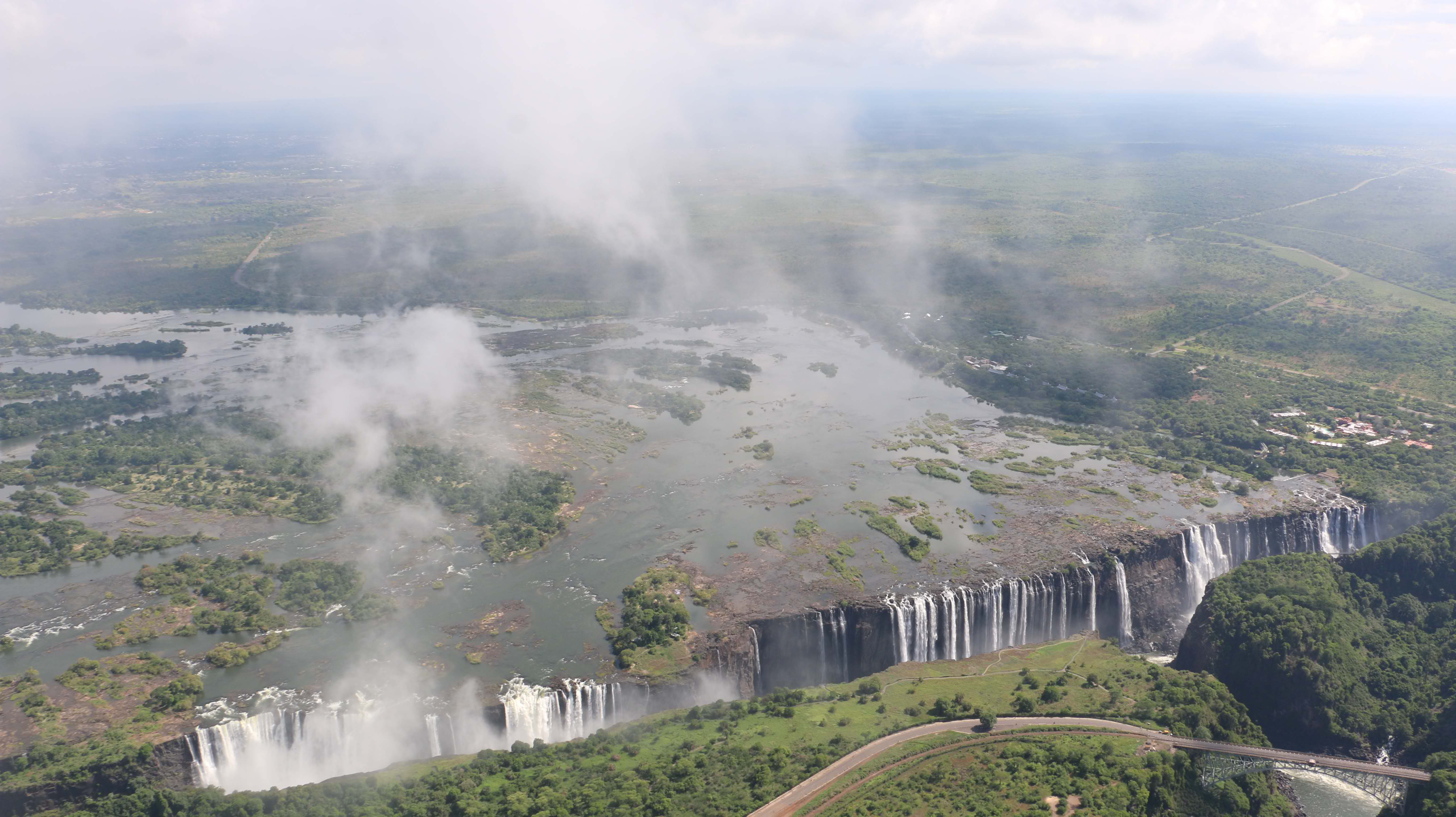 Aerial view of Victoria Falls in January