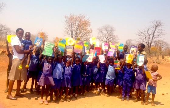 Books donated to children of Masuwe School, Chobe, Botswana