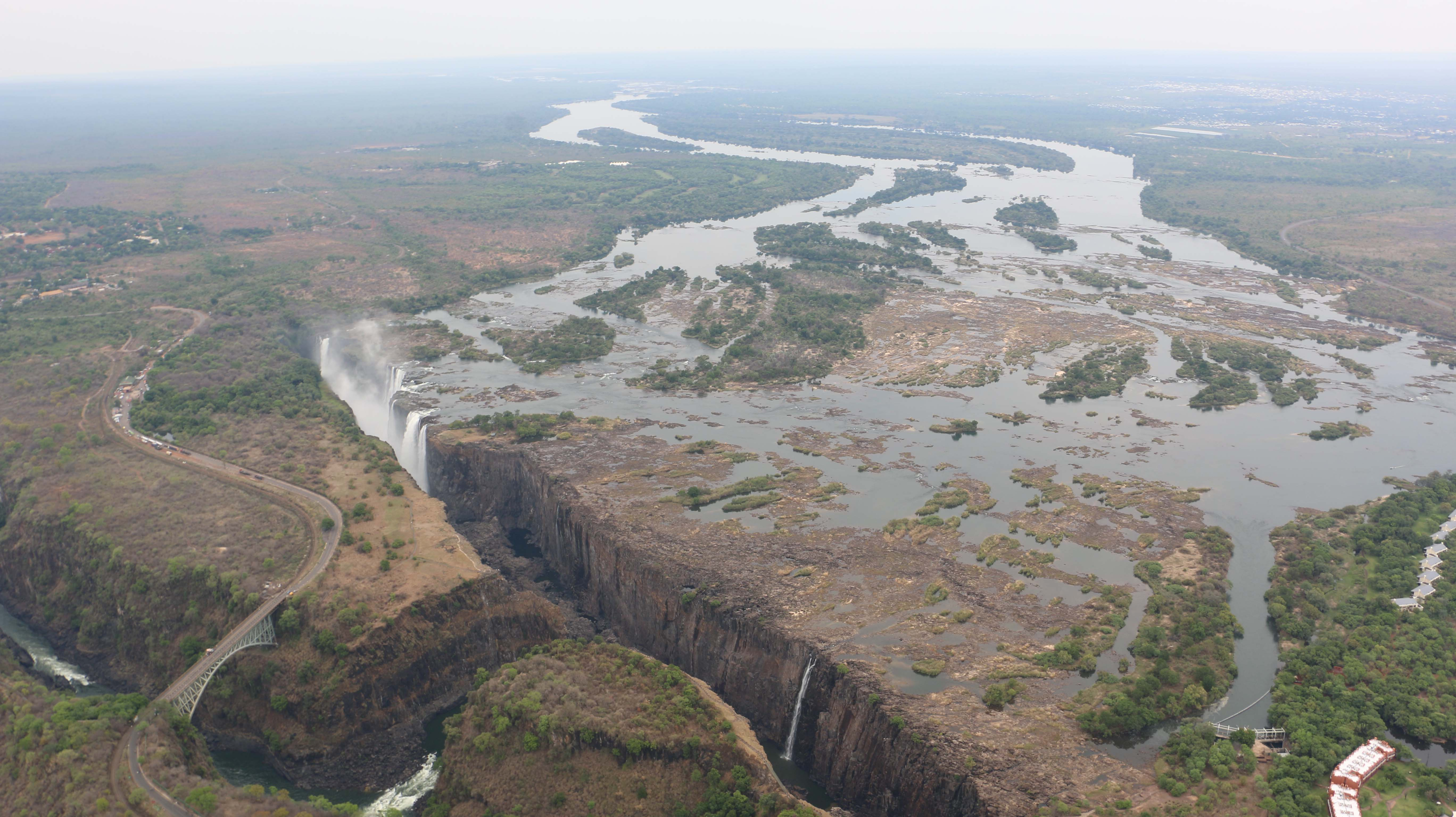 Aerial view of Victoria Falls in December