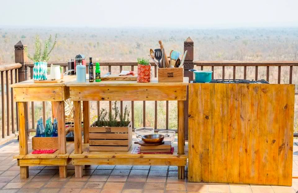 Sarah Graham cooking at Victoria Falls Safari Lodge with Chef Munya