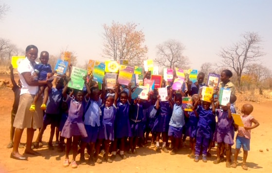 Books donated to children of Masuwe School, Chobe, Botswana
