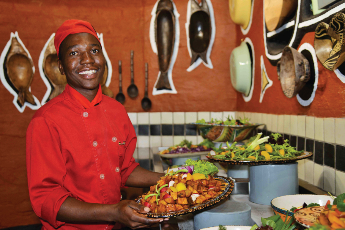 A Boma chef at the salad bar