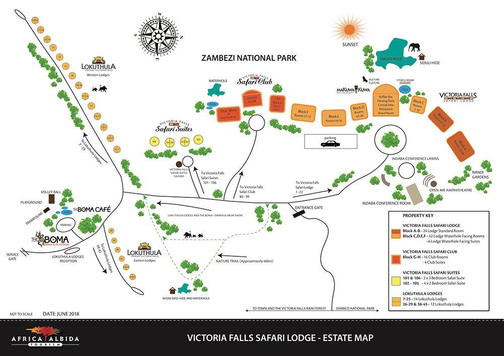 Victoria Falls Safari Lodge Resort Map 2018