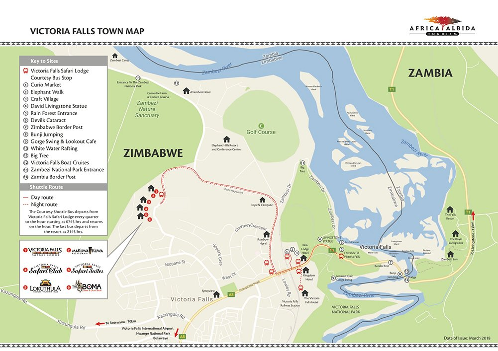 Victoria Falls Lodge Town Map 2018